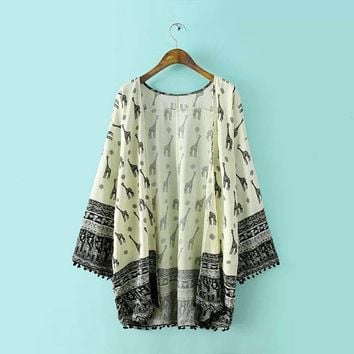 2017 Women Open Fall Giraffe Pattern Kimono Long Sleeve Blouse Tops Cover Up US