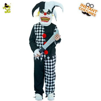 Evil Jester Costumes Boys Scary Clown Killer Role Play Outfit Children Party Children Halloween Grim Buffon Cosplay Clothes