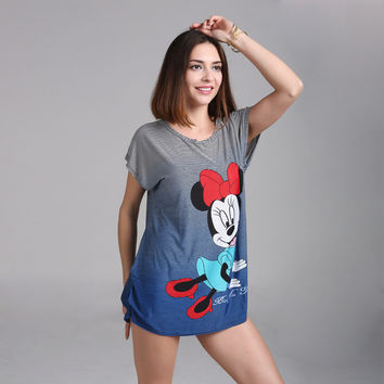 Dmart7deal Plus size Minnies T Shirt Dress Big Size Women Mouses Printing Long T shirt Long Style Loose Casual Tees Sweet Minnie Tops