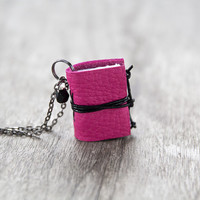 Leather miniature book necklace, mini book jewelry, book lover literature eco friendly necklace pendant, steampunk journal necklace - pink