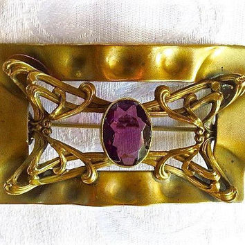 Art Nouveau Sash Pin, Amethyst, Antique Sash Brooch, Vintage Art Nouveau Jewelry, February Birthstone