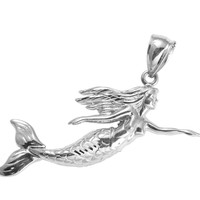 SOLID 14K WHITE GOLD HIGH POLISH SHINY HAWAIIAN MERMAID PENDANT MOVABLE TAIL FIN