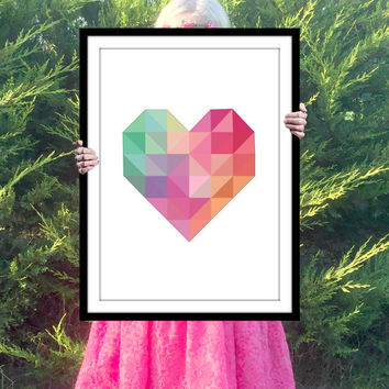 Colorful Heart Print, Inspirational Quote, Motivational Poster, Gift Ideas, Shabby Chic, Wall Art, Home Decor, Typography Print - PT0161