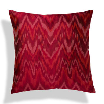 a & R Cashmere Silk Ikat Pillow Cover - Begonia