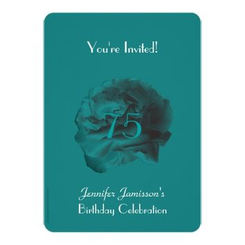 75th Birthday Party Invitation Teal Rose