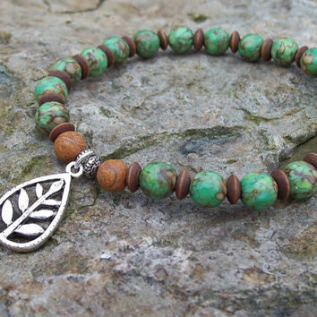 Stretch Bracelet with Eco Leaf Charm  - Mosaic Turquoise Green Beaded Bracelet