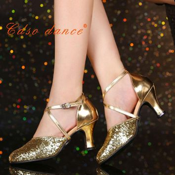 cdso dance In stock Free shipping ladies closed toe latin ballroom dance shoes 6.5 cm 5.5cm or 3cm Heels Satin EU Size 34-41