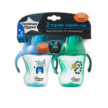 Tommee Tippee 2 Pack 8 Ounce Trainer Sippy Cup - Blue and Green