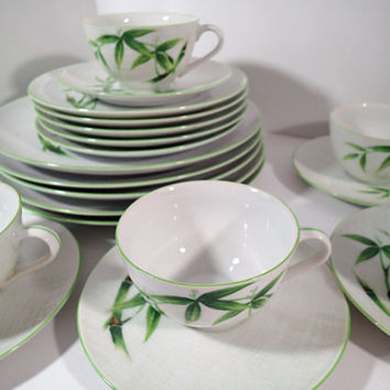 Mid Century Dinnerware, Craftsman Japan Orient Bamboo 20 pieces Service for 5 Vintage dinner plates, salad plates, cups and saucers