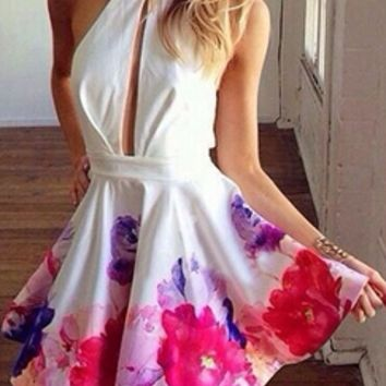 White Cut Out Sleeveless Halter Backless Pink Purple Flower Skater Dress