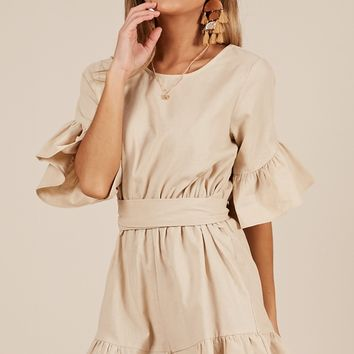 Making It Easy Playsuit in Beige Produced By SHOWPO