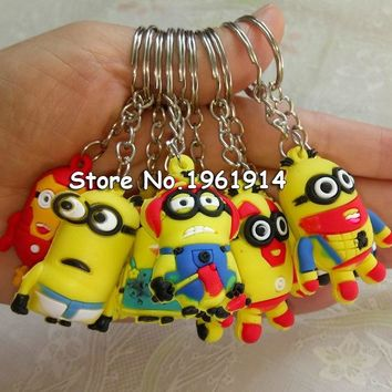free 40pcs 3.5cm pvc minion Keys Chain Kids 3D Despicable Me Minions Action Figure Keychain Keyring mixed 6 designs R