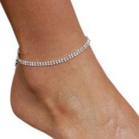 2 Row Anklet Bracelet Austrian Crystal Rhinestones Clasp SeXy Gift