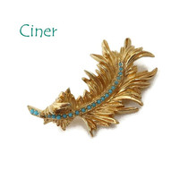 Ciner Gold Tone Leaf Brooch, Vintage Turquoise Beaded Curly Leaf Pin, Signed Designer Gift for Her