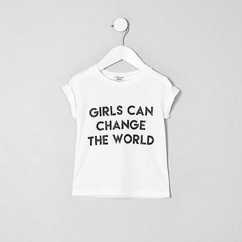 Mini girls white print short sleeve T-shirt - baby girls tops - mini girls - girls