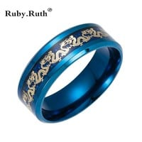 Black Stainless Steel Ring Chinese Traditional Gold Dragon Inlay with Blue Ring