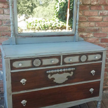 Chippy dresser and mirror, antique dresser, Distressed dresser, shabby chic dresser, rustic dresser, gray dresser, mirror, painted dresser