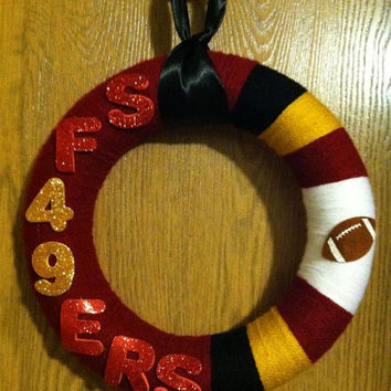 San Francisco 49ers Yarn Wreath