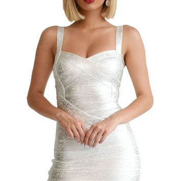 Party Girl Silver Metallic Foil Sleeveless V Neck Bandage Bodycon Mini Dress