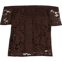 River Island Womens Brown lace gypsy top