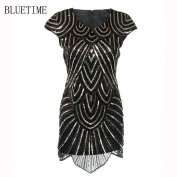 1920s Retro Vintage Gatsby Dress 2017 Sequin Beading Fringe Flapper Party Lady Short Women Clothing Robe Femme H0007