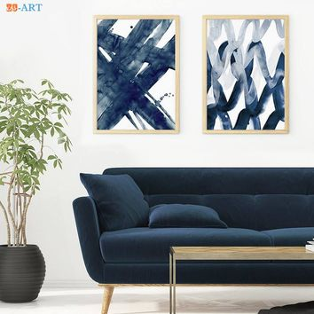 Abstract Painting Navy Blue Watercolour Wall Art Print Brush Stroke Large Poster Modern Minimalist Canvas Painting Home Decor