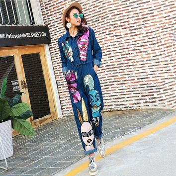 PEAPU3S 2016 Autumn Brand Personality Denim Jeans Siamese Jumpsuit Women Cartoon Sequined Jumpsuit Long Sleeve Rompers 1685