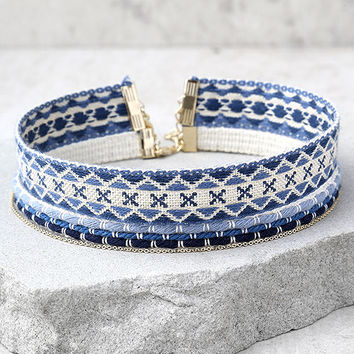 Aspen Blue Embroidered Choker Necklace Set