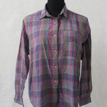 80s Designer Plaid Shirt, Vintage Diane Von Furstenberg Purple Plaid Button Down Shirt Blouse Size M Medium