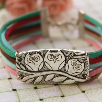 OWL bracelet,retro silver super cute owl bracelet,colorful rope chain bracelet---B207