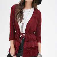 FOREVER 21 Belted Open-Knit Cardigan