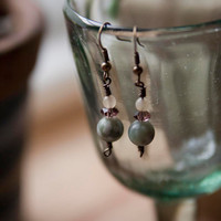 Tree Agate and Pale Yellow Jade Earrings  with Vintage Bronze Wire