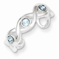 Sterling Silver Stellux Crystal Toe Ring