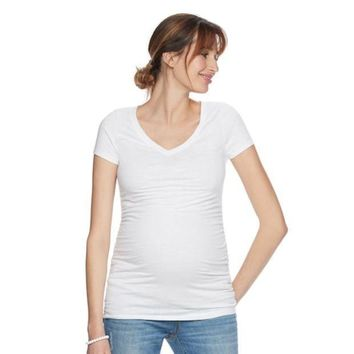 Maternity A:glow Essential Ruched V Neck Tee