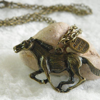 very beautiful antique bronze War Horse Steven Spielberg necklace