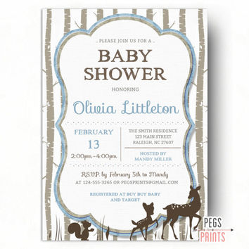 Deer Baby Shower Invitation Printable - Deer Baby Shower Invites - Woodland Creatures Baby Shower - Woodland Animals Baby Shower Invitations