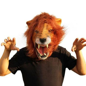 2016 Halloween Props Adult Angry Lion Head Masks Animal Full Celebrity Party Fancy Classic Cosplay Latex Lion Mask