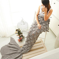 Mermaid Party to Be Adored Blanket Scales shape Christmas Gift Grey