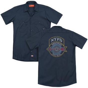 NYPD Dickies Work Shirt Highway Patrol Navy Button Up