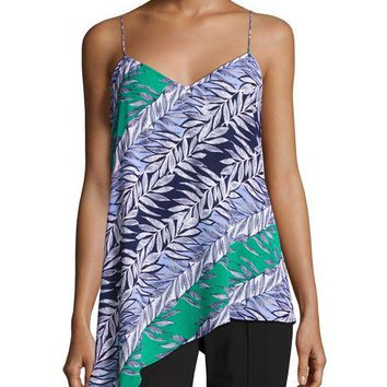 Laundry By Shelli Segal Multi-Leaf Slip Tank, Green/Blue
