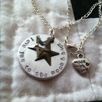 love you to the moon and back stamped pendant with choce of charms and name personalisation