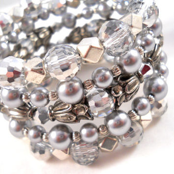 Bracelet Stack Silver Grey Gray Sparkle Jewelry for Teens Women