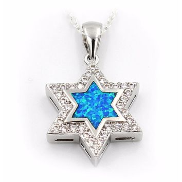 Star Of David Blue Fire Opal Pendant Necklace