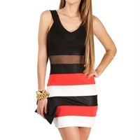 Black/Coral Colorblock Bandage Dresses