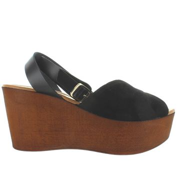 Seychelles Laugh More - Black Suede High Platform/Wedge Sandal