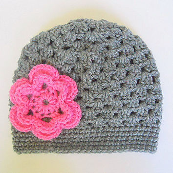 Toddler  Girl Gray Hat With Pink Flower 2 To 5 Year Old Infant Fall Cloche Baby  Winter Grey Cap Beanie