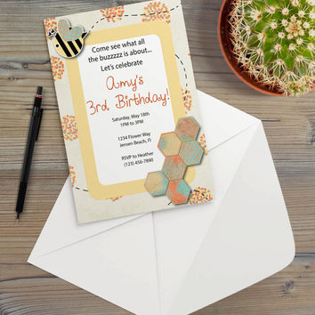 Instant Download - Bumble Bee Honeycomb Garden Flowers Geometric Rustic Cottage Chic Party Invitation Template