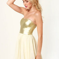 By De-Shine Cream and Metallic Gold Dress