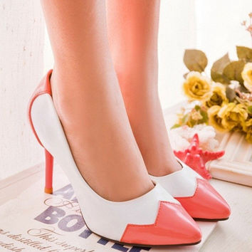 Lady Cheap Plus size42 43Candy Colors Love heart Sexy Patching High heels pointed toe shoes Women Party Wedding Pumps Red Bottom