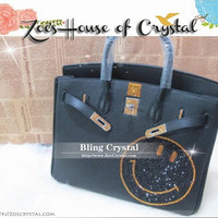 Swarovski / Czech Crystals - Hermes Birkin Inspired Genuine Leather Purse / Handbag with Smiley - ZoeCrystal